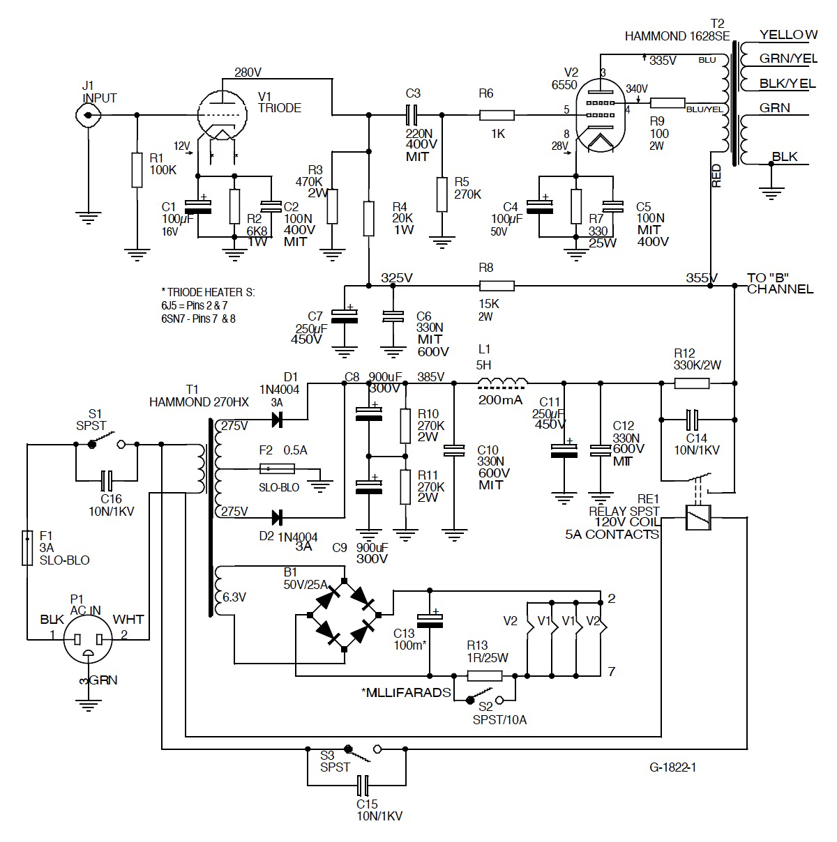 a single ended 6550 amplifier on simple audio amplifier schematic