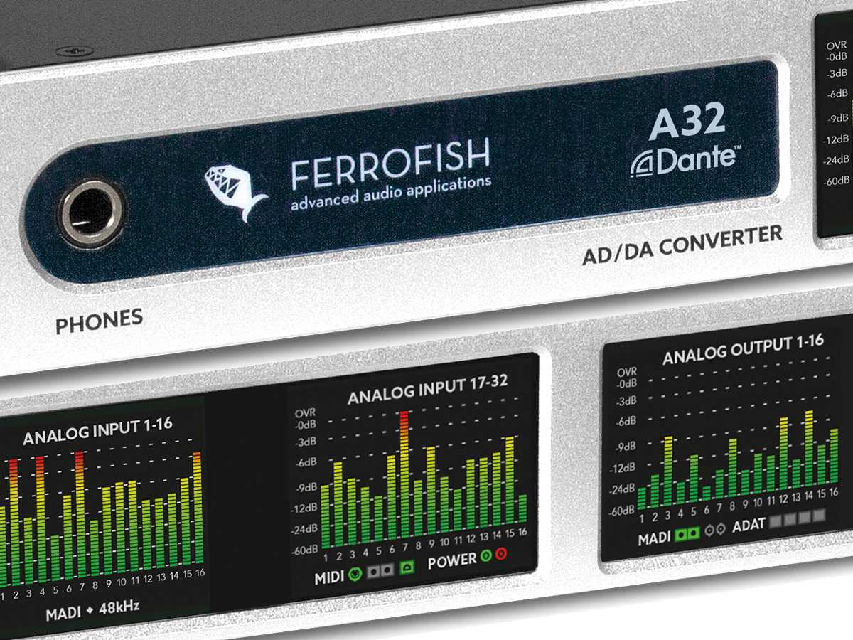 ferrofish a32 dante ad da converter now available. Black Bedroom Furniture Sets. Home Design Ideas