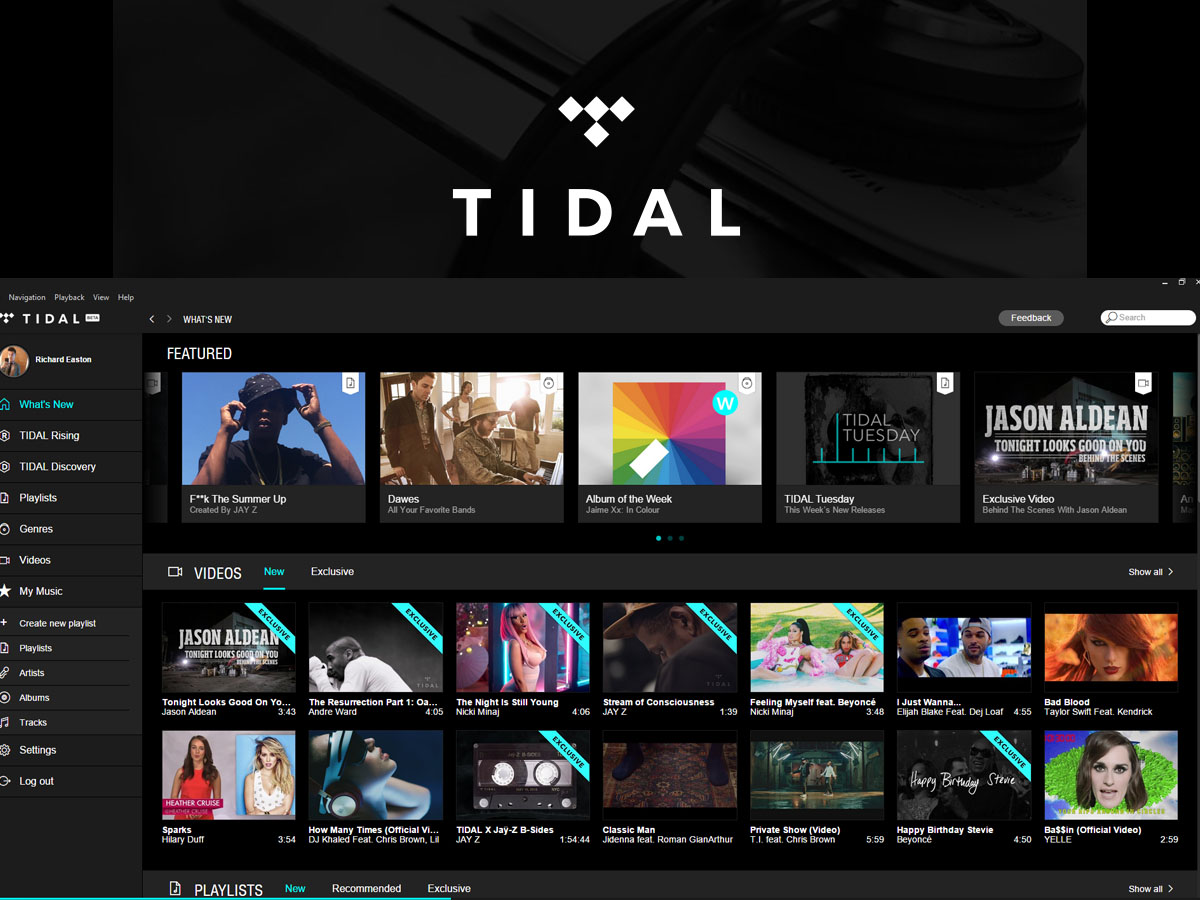 An image of TIDAL, an alternative to iTunes.